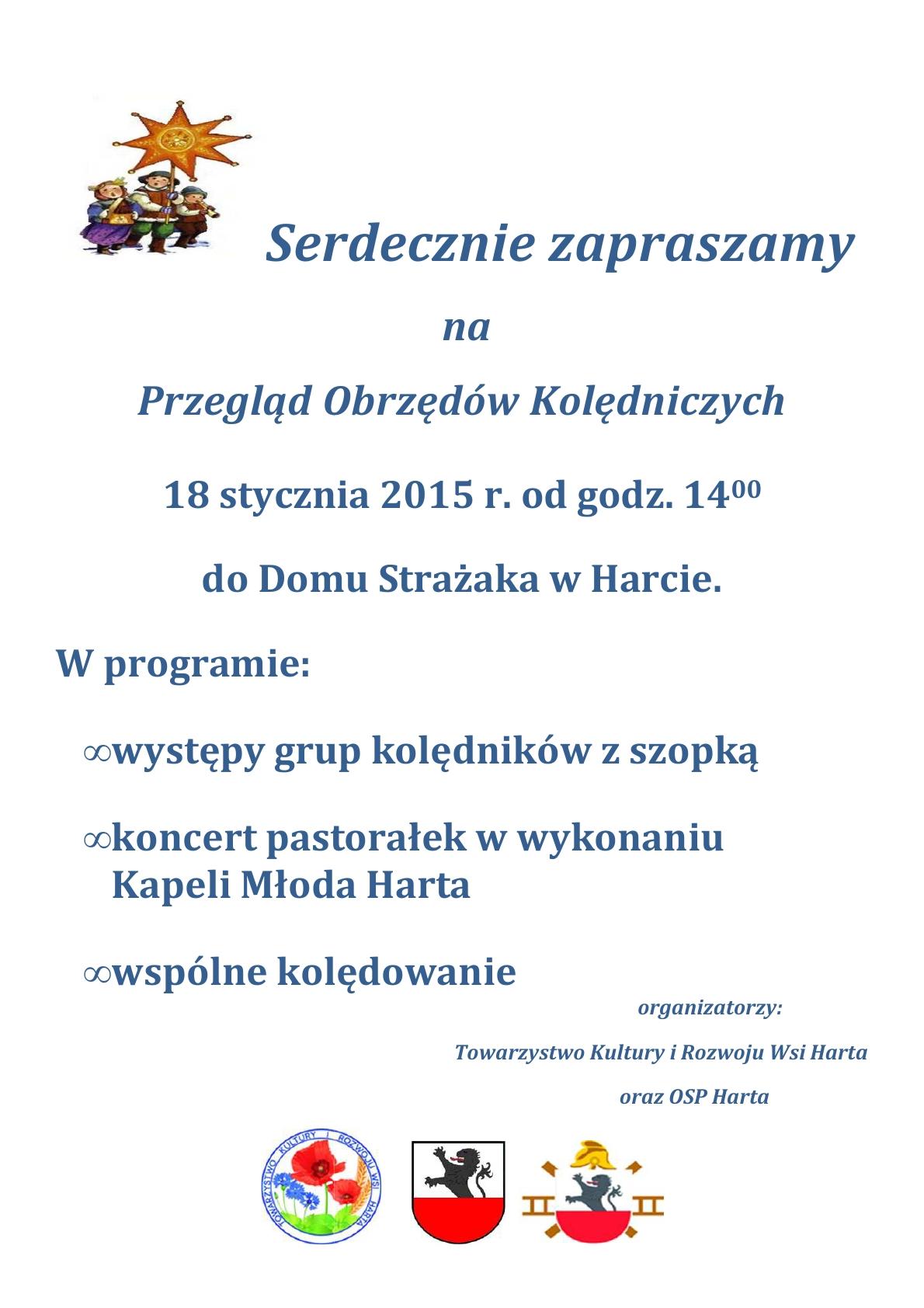 (zaproszenie  Obrzędy Kolędnicze Harta 2015)